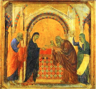 an icon in the Eastern style shows, from left to right, Simeon, Mary, Jesus, Joseph, and Anna, against a background of dramatic architecture